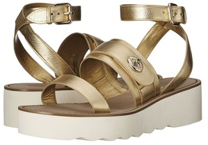 Coach A00959 Platt Metallic Leather Strappy Flat Gold Sandals