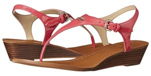 Coach A7687 Vitalia Ruby Patent Leather Strappy Pink Sandals