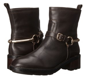 Coach A00465 Gillian Chestnut Leather Mid Calf Spur Moto Brown Boots