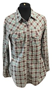 Fire Button Down Shirt green and gray