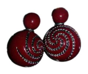 Other Dark Red Or Burgundy Resin Ball Earrings With Rhinestones