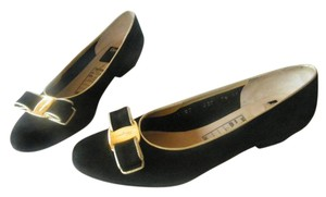 Salvatore Ferragamo Suede Gold Trim Signature Buckle Bow Black/Gold Flats