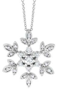 0.30 Ct. Natural Diamond Snowflake Pendant Necklace In Solid 14k White