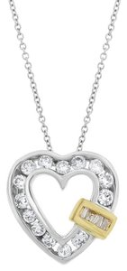0.52 Ct. Natural Diamond Heart Pendant In Solid 14k White/Yellow Gold