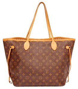 Louis Vuitton Canvs Neverfull Mm Leather Tote in Monogram