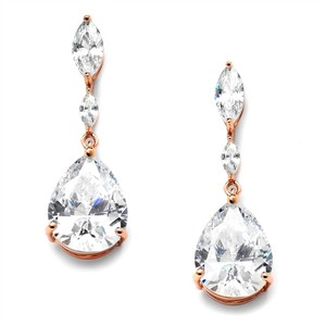 Mariell New! Cubic Zirconia Earrings With Dainty Marquise & Pear Drop 4154e-rg