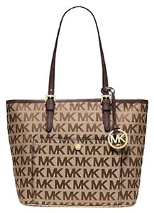 Michael Kors Top Zip Metallic Tote in mocha khaki gold