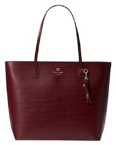 Kate Spade Large Zip Top Leather Mulled Wine Tote in Burgundy