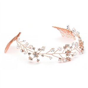 Mariell New! Swarovski Crystal Bridal Tiara Vine In Rose Gold 1402h-rg