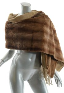 Other Cognac Sheared Mink-Camel Cashmere Shawl/Wrap w/Fringe