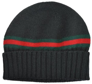 Gucci Gucci Men's 294731 Green 100% Wool Red Green Stripe Beanie Ski Hat L