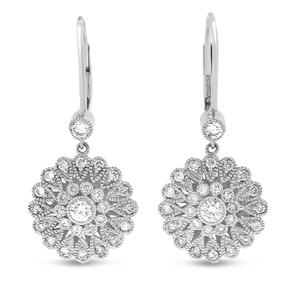 Other 1.08 CT Natural Diamond Vintage Inspired Milgrain Drop Earrings 14k