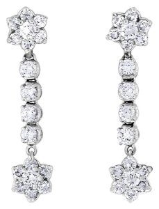 Other 2.10 CT Natural Diamond Dangle Drop Floral Earrings in Solid 14k White