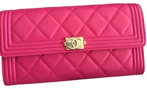 Chanel Chanel Hot Pink Leather Le Boy Wallet