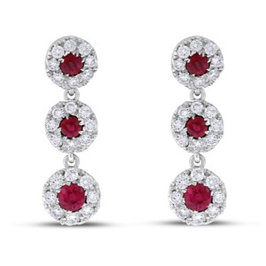 Other 1.50 CT Natural Diamond & Ruby Halo Drop Earrings in Solid 14k White