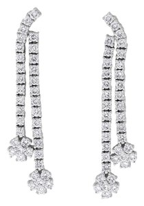 1.86 CT Natural Diamond Dangle Drop Floral Earrings in Solid 18k White
