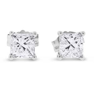 Other 0.80 CT Natural Diamond Princess Cut Stud Earrings in Solid 14k White - item med img