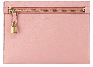 Tom Ford Padlock Gold Pouch Envelope Hardware Pink Clutch