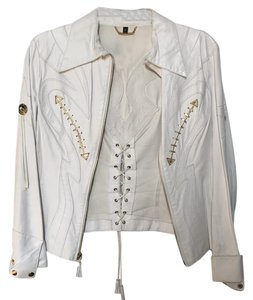 Roberto Cavalli white Leather Jacket