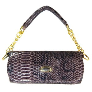 Vecceli Italy Faux Leather Animal Skin Snake Skin Brown Clutch