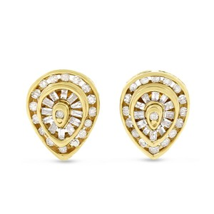 Other 0.45 CT Natural Round & Baguette Pear Shape Stud Earrings Solid 14k - item med img