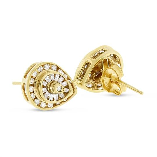 Other 0.45 CT Natural Round & Baguette Pear Shape Stud Earrings Solid 14k