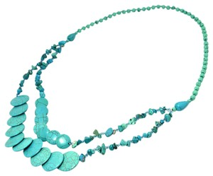 Other 2-Strand Turquoise Chip Beaded Circle Necklace