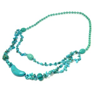 Other 2-Strand Turquoise Chip Beaded Pendant Necklace