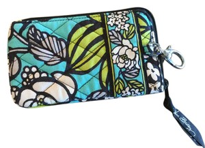 Vera Bradley Wristlet in Aqua, black,lime