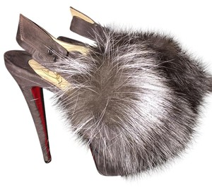 Christian Louboutin Suede Fox Fur Grey Platforms
