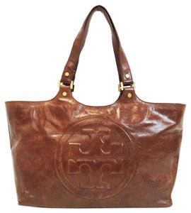 Tory Burch Glazed Genuine Brown Leather Tote in Chocolate