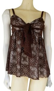 Robert Rodriguez Lace Cami Front Ties Top Brown