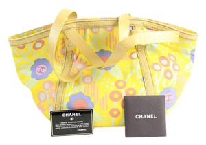 Chanel Flower Camellia Yellow Tote in Multicolor