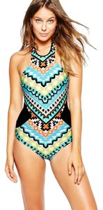 SeaFolly Seafolly Kasbah High Neck Maillot Nectarine Swimsuit AU 10