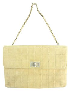 Chanel Chocolate Bar Woc Flap Jumbo Medium Satchel in Beige