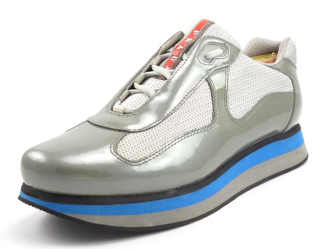 Item - Silver Double Men's Patent Leather Sole Sneakers Shoes
