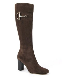 Gucci Heel Knee Brown Suede /C0600 2012 Boots