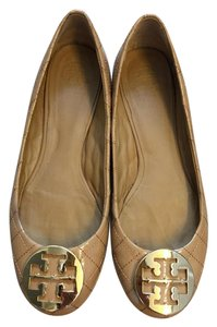 Tory Burch Patent Leather Quilted Logo Tan Flats