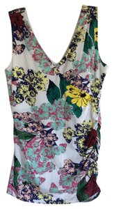 CAbi Fitted V Neck Dress Up Dress Down Top Floral