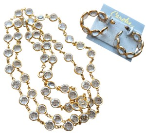 Carole Little Vintage Estate NWT CAROLEE Open Back Crystal Bezel Necklace Earrings Set