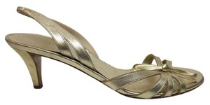 Salvatore Ferragamo Slingbacks Gold Pumps