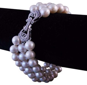The Queens Closet Freshwater Pearl Triple Strand Bracelet CZ 925 Sterling Silver Clasp