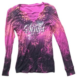 Affliction T Shirt Pink And Black With Orange and Silver Accents