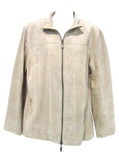 Chico's Leather Beige Leather Jacket