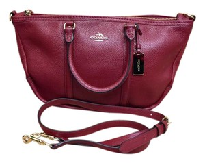 Coach Leather Red Pebbled Leather Satchel in True Red