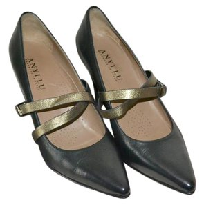 Anyi Lu Suede Made In Italy Black Leather Anthrocite Leather Straps Pumps