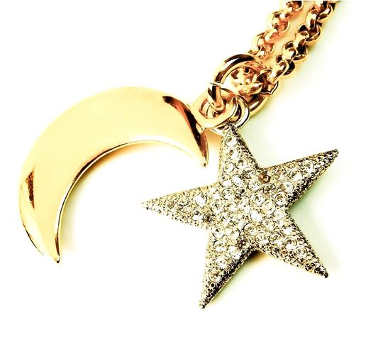 Céline Celine Gold Necklace Chain with Moon Star and Rhinestones Pendant