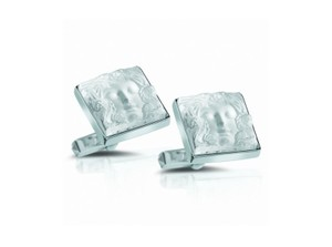 Lalique Clear Crystal & Sterling Silver Arethuse MDF Cufflinks