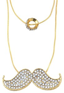 Other Rhinestone Mustache Charm and Ring Necklace