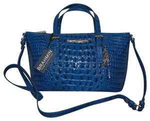 Brahmin Mini Asher Leather Croco Satchel in Teal